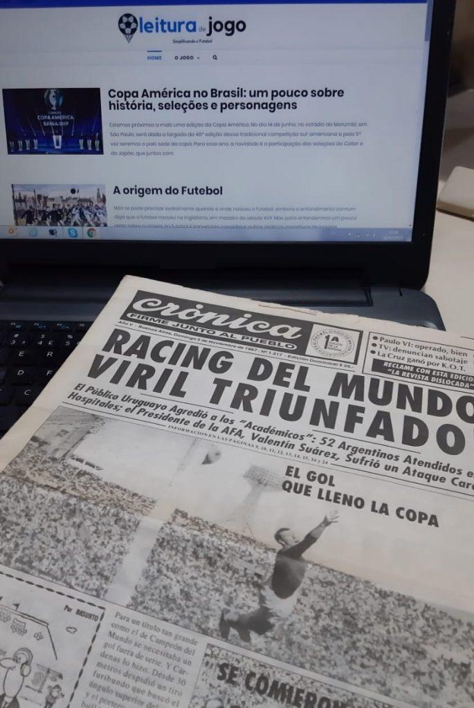 jornal de 1967 com racing campeão do mundo site leitura de jogo ao fundo