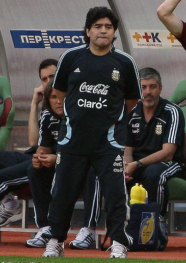 Maradona dirigiendo a la Selección Argentina