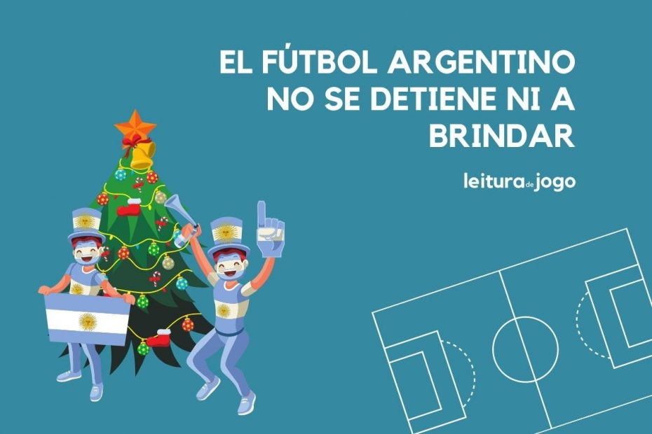 Arbol navideño e hinchas argentinos