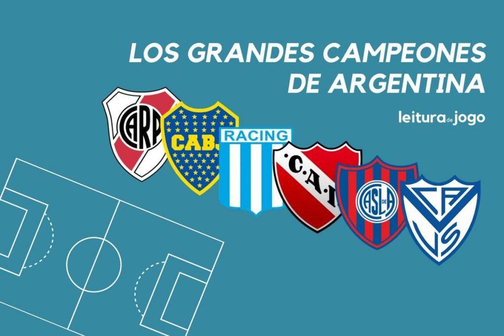 River, Boca, Racing, Independiente, San Lorenzo y Velez son los clubes más veces campeones en Argentina.