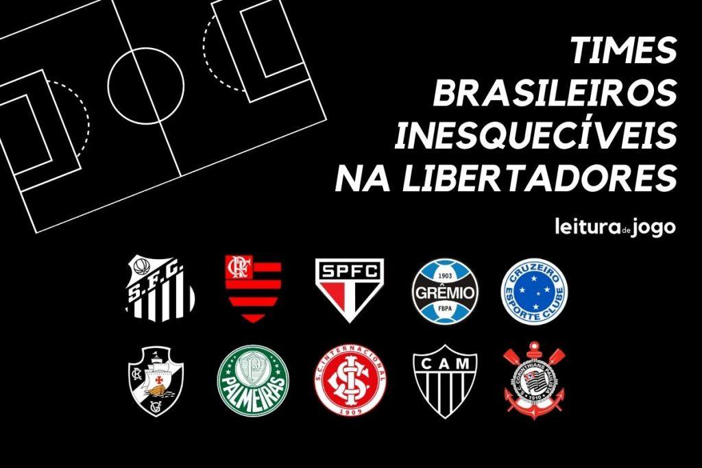 Escudos de 10 times brasileiros inesquecíveis na Copa Libertadores