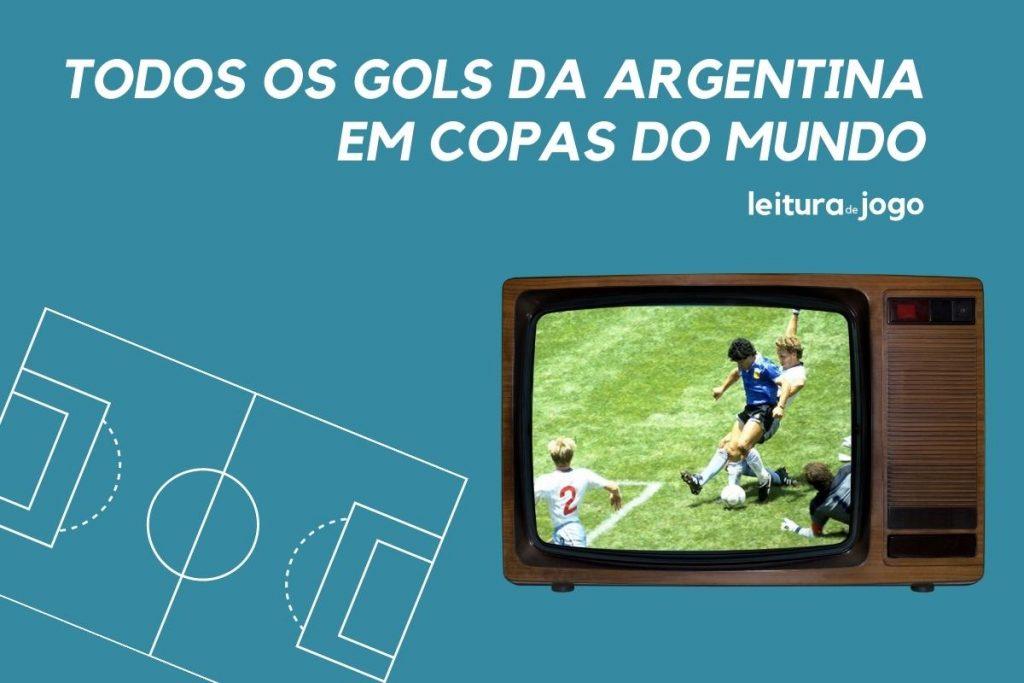 Gol histórico de Maradona no mundial de 1986 contra a Inglaterra na imagem da televisão.